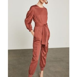 Bcbg pleated cotton jumpsuit